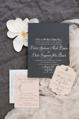 Wedding invitation grey cardstock with white calligraphy and reply cards in millennial pink