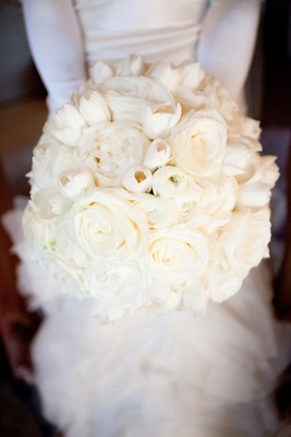 White rose, tulip, and peony bridal wedding bouquet