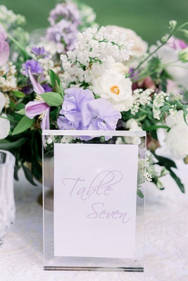 wedding reception table number light purple modern calligraphy on card in lucite acrylic stand frame