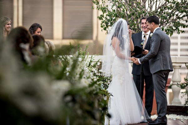 ceremony on outdoor terrace in downtown los angeles