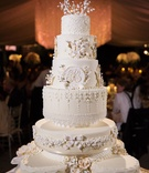White wedding cake very traditional white cream layers monogram ribbon southern style