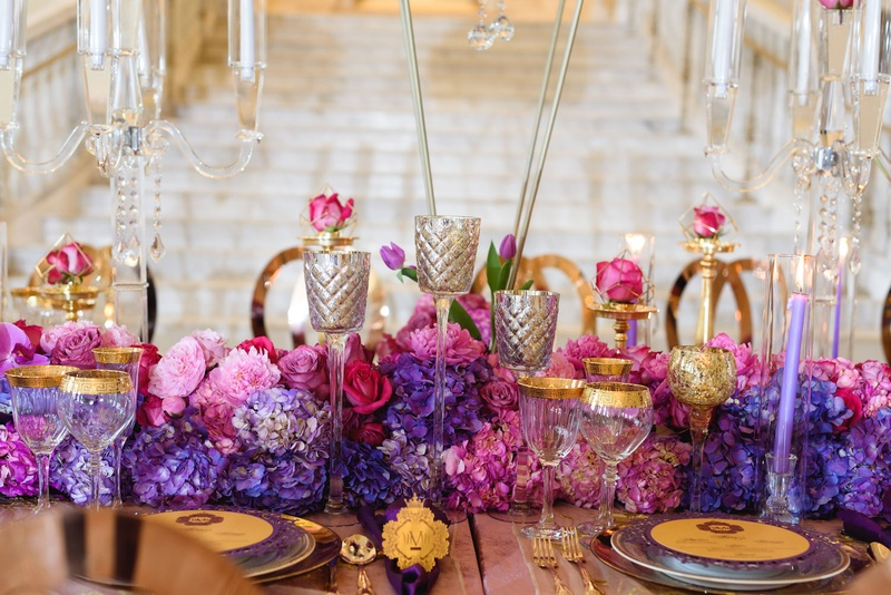 mercury candle stands in quilted pattern, purple hydrangeas, pink roses