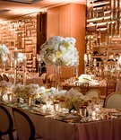Wedding reception mirror faceted decor on walls mirror king's table tall centerpieces candlesticks