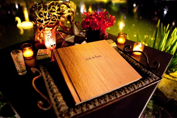 Wedding guest book with wood cover