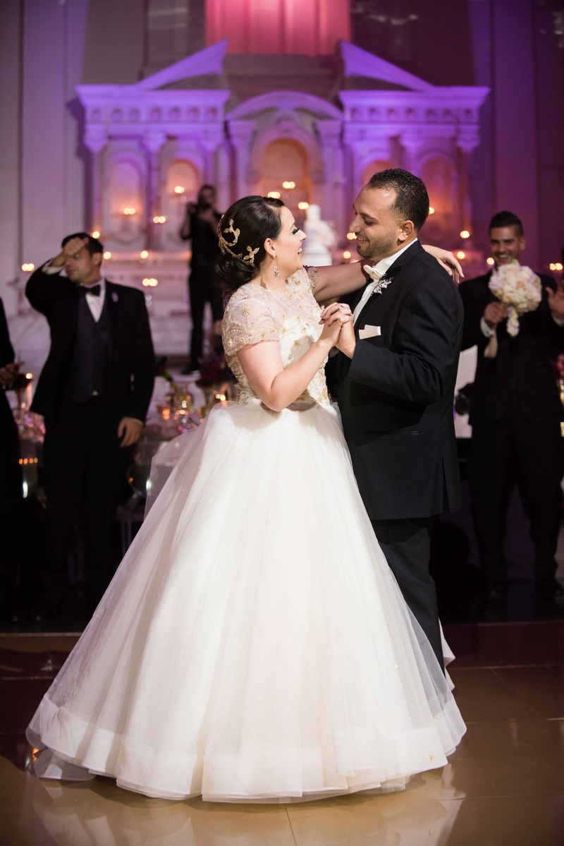 Bride in Lazaro wedding dress ball gown from Mon Amie Bridal Salon during first dance at Vibiana