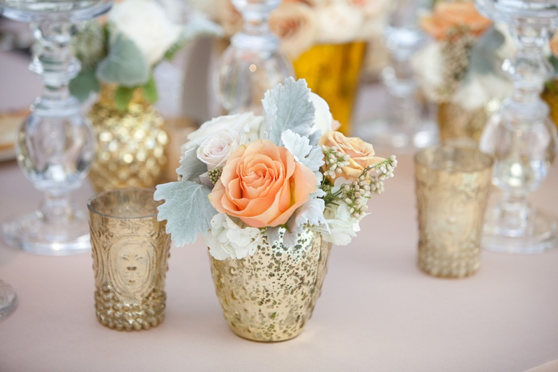 Reception Dcor Photos Gold Bud Vases Inside Weddings