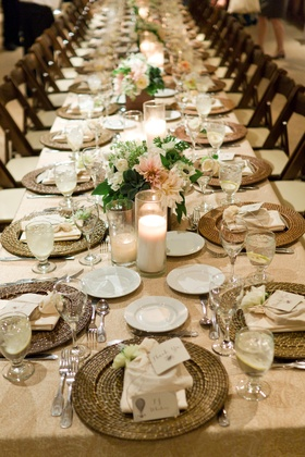 Long table with low floral centerpieces
