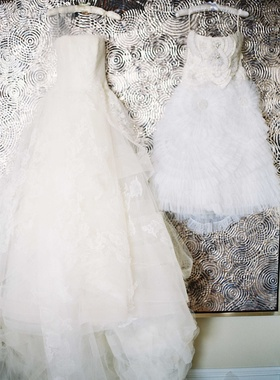 Ball gown wedding dress and short after party gown