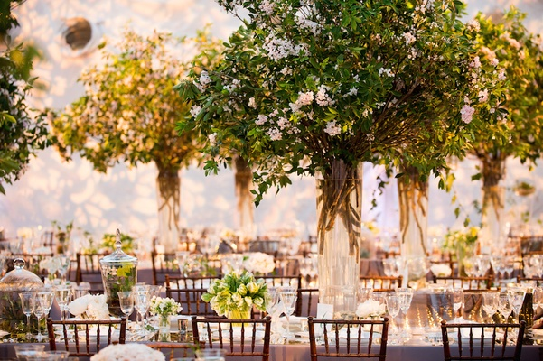 Formal wedding inspired by central park springtime in new york indoor wedding reception that looks like garden junglespirit Images