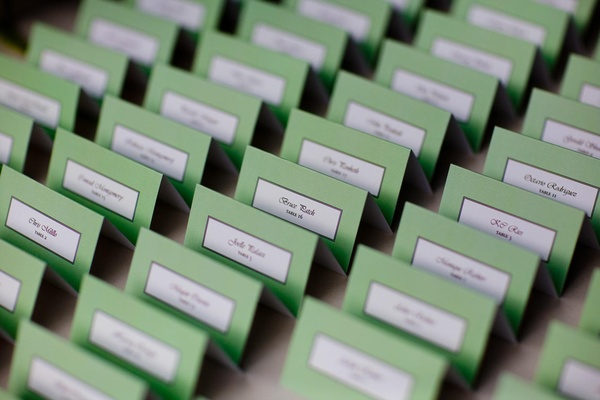 Wedding reception place cards in light green