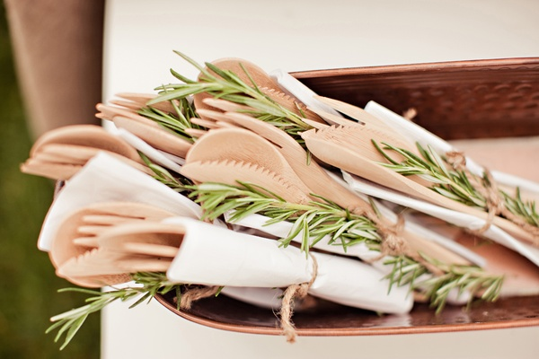 Wooden forks and rosemary