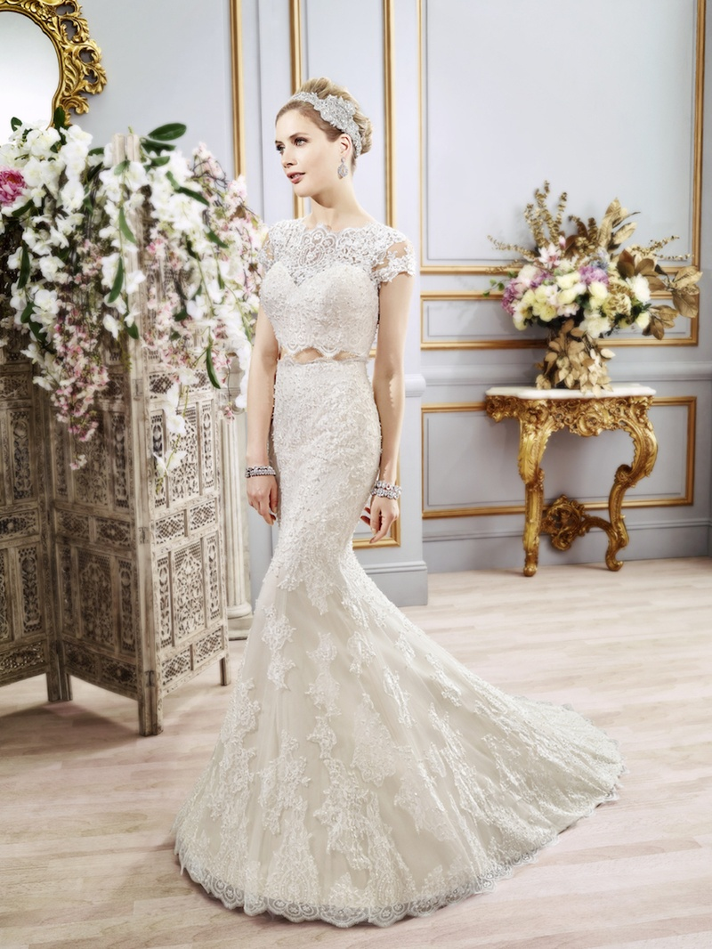 Embellished Cap Sleeve Wedding Dress By Val Stefani