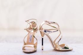 Seattle Mariners Marc Rzepczynski's wedding, gold jimmy choo wedding bridal heels