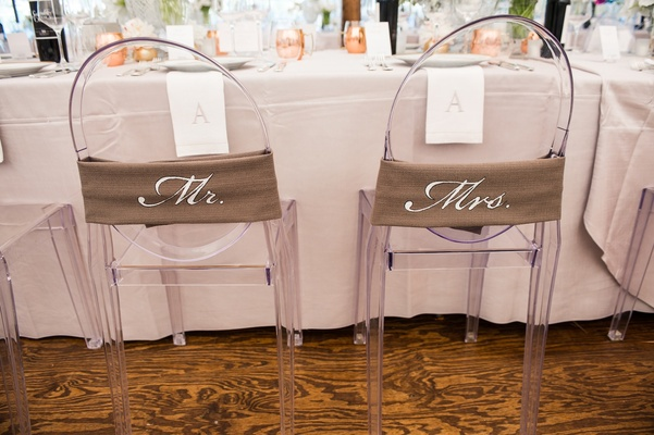 Burlap-style wraps with Mr. and Mrs. on chair backs
