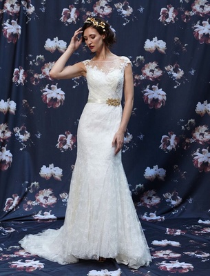Fit and flare Alencon lace wedding dress by Ivy and Aster Fall 2016