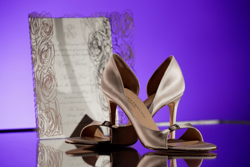 james chicotti dark champagne bridal shoes, d'orsey heels open toe