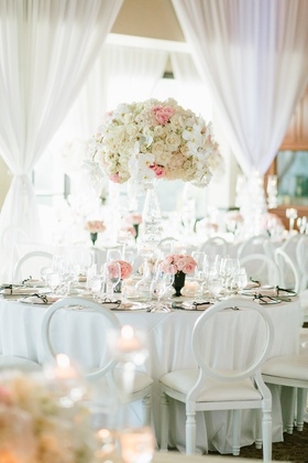 classic wedding decor, floral centerpiece with pink, ivory, and
