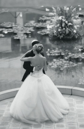 Black and white photo of couple dancing