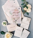 wedding invitation watercolor flower print design on invite and envelope ceci new york calligraphy
