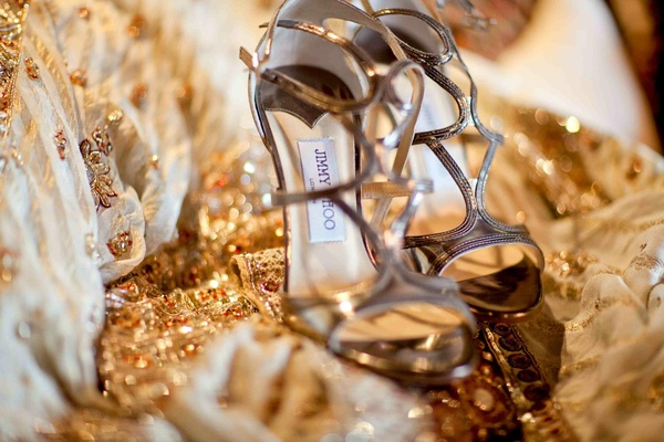 Bride's golden Jimmy Choo heels
