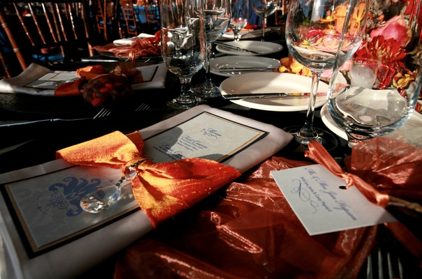... Wedding Reception Menu Wrapped With Orange Ribbon And Crystal ...