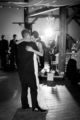 black and white photo of couple first dance rustic reception vermont wedding