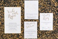 wedding invites with gold calligraphy and lettering