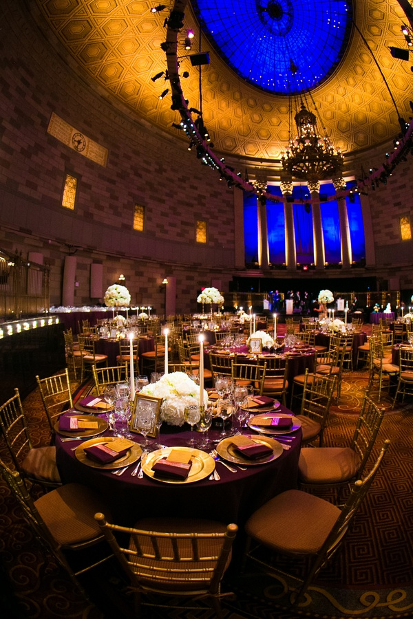 Reception Dcor Photos Gotham Hall Purple Gold Wedding Inside