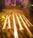 Wedding monogram on custom dance floor