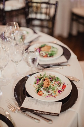 oriental salad with edamame and fried wontons served as first course at wedding