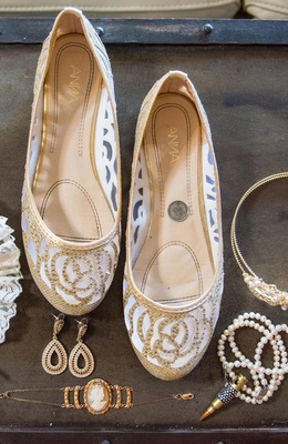 Gold and white wedding shoe flats with rhinestones