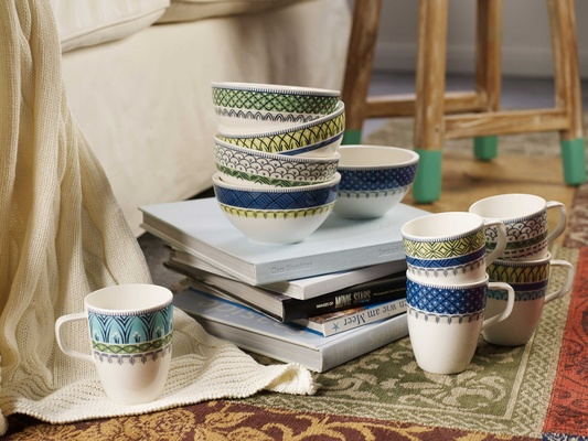 Villeroy & Boch Gifts blue white and yellow patterned detailed porcelain cups
