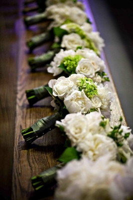 Bridesmaid bouquets white rose and green hydrangea