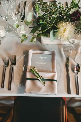 ivory place setting menu greenery details calligraphy maine wedding reception gray tablescape napkin