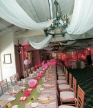 Family style wedding seating with pink tablecloth and green runner