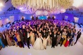 fish-eye photo entire wedding party indian hindu wedding traditional ballroom guests family fun