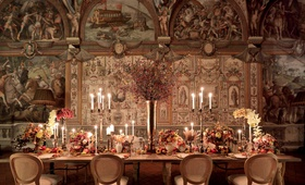 renaissance inspired tablescape in palace in florence, baroque architecture castle, fall colors