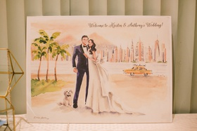 welcome to wedding sign painting watercolor artwork of bride groom with dog and love story