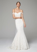 Anne Barge Fall 2018 bridal collection tulle off the shoulder mermaid gown with chapel train