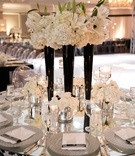 Mirror tabletop with Deco vase and floating candles