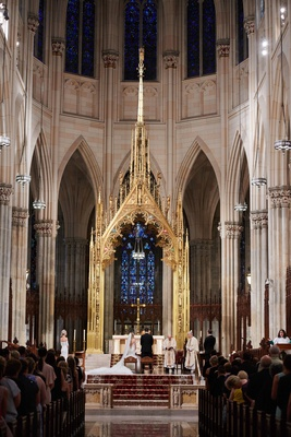 bride and groom at altar new york city cathedral saint patrick's cathedral st pats