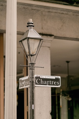 St Peter Chartres Street Signs On Lamp Post In The French Quarter New