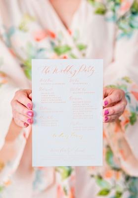 ombre wedding ceremony program calligraphy orange peach yellow pink script flower print robe