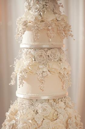 Close up of ivory wedding cake with sugar roses