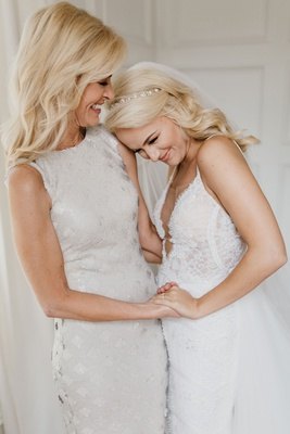 former miss america savvy shields with mom mother of bride on wedding day white dress sleeveless