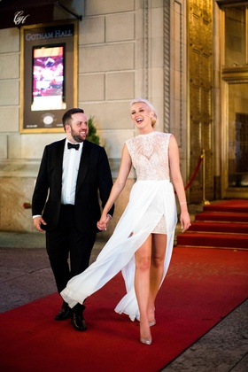 bride in sleeveless julie vino wedding dress groom in tuxedo bow tie new york city wedding