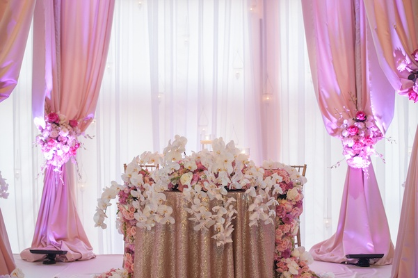 Gold sequin tablecloth topped with fresh flowers