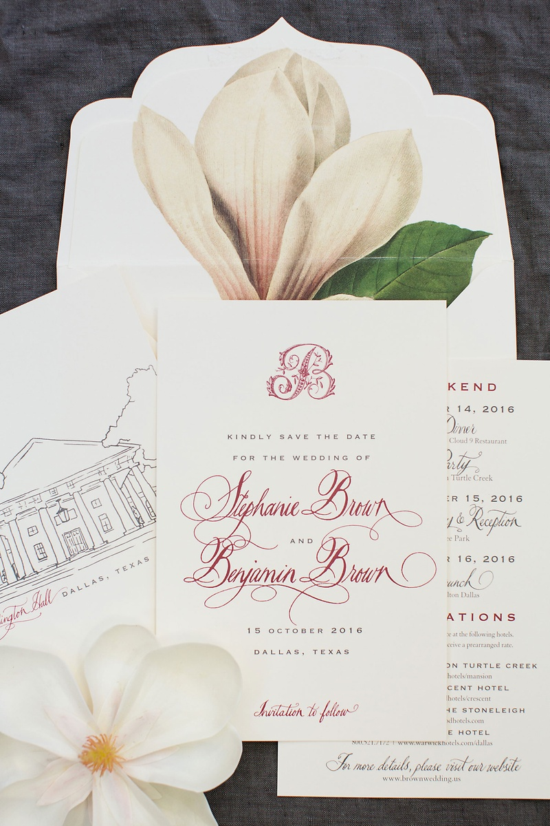Wedding save the date card with magnolia illustration and sketch of venue monogram red burgundy