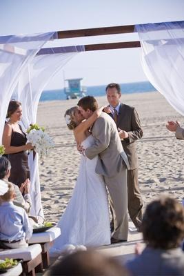 Oceanfront beach wedding on sand in Santa Monica