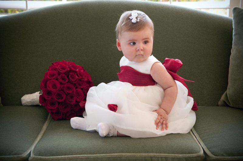 Flower girls ring bearers photos red sash flower girl dress baby flower girl with big red bow on white dress mightylinksfo